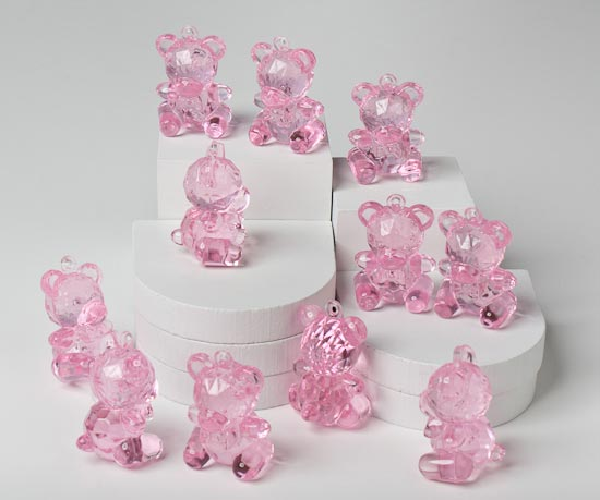Pink Teddy Bear Baby Shower: Pink Acrylic Teddy Bear Baby Shower Favors