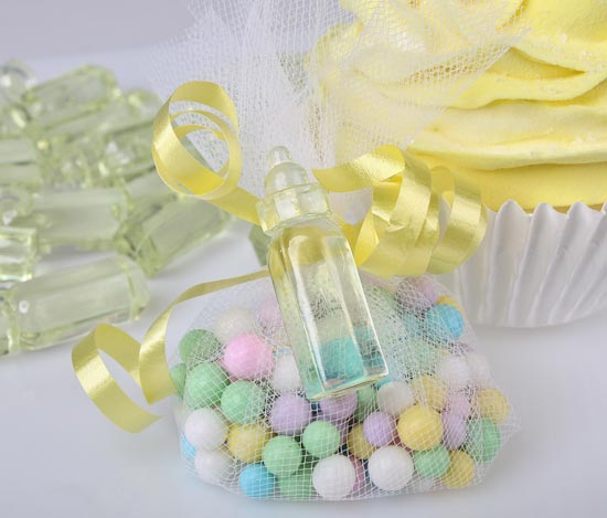 yellow baby bottle shower favors - baby shower decorations - baby shower supplies