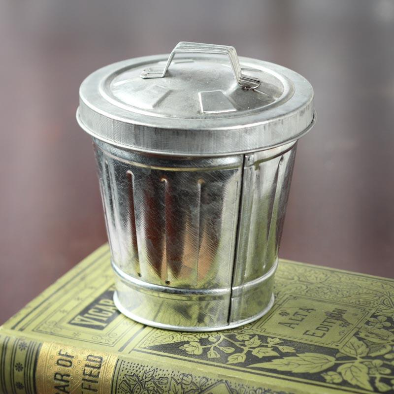 Galvanized Metal Trash Can - Decorative Containers ...