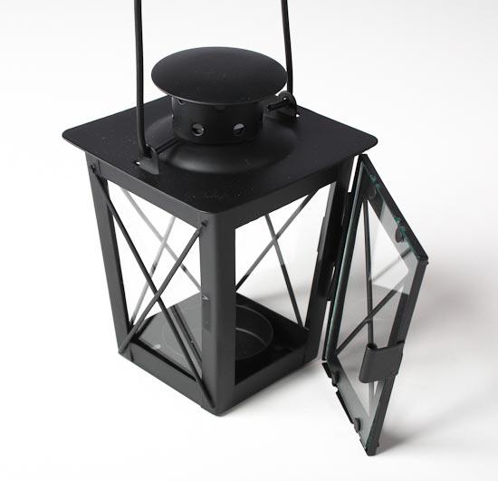 Black metal hanging small antique look lantern