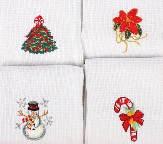 Embroidered Holiday Kitchen Tea Towel Kitchen Towels