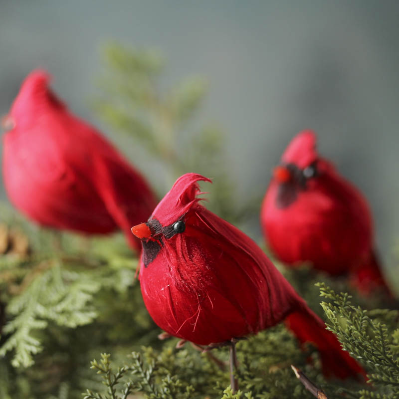 Christmas Decorations Red Birds : Small artificial cardinal clips christmas ornaments