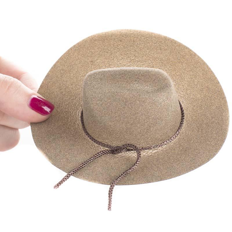 Miniature camel brown flocked cowboy hat western and for Tiny cowboy hats for crafts