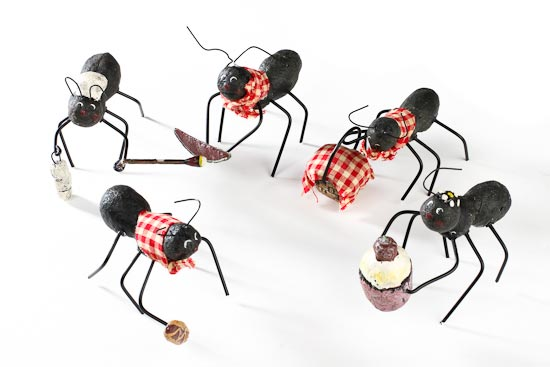 Black Dressed Picnic Ant Table Decorations Set Of 5