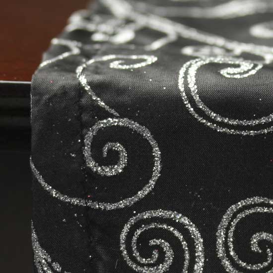 Black With Silver Glitter Swirls Satin Table Runner