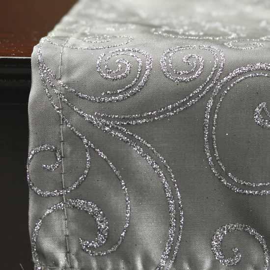 silver glitter swirls satin table runner tableware. Black Bedroom Furniture Sets. Home Design Ideas