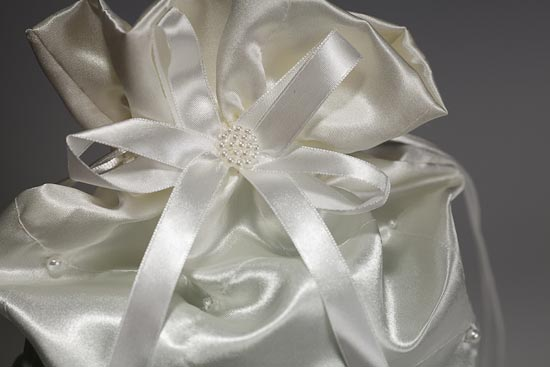 Ivory Satin with Pearl Accents Wedding Money Bag New Items