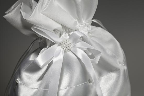 White Satin with Pearl Accents Wedding Money Bag Money Bags and Bridal