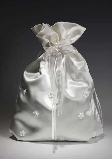 Ivory Satin with Floral and Pearl Accents Wedding Money Bag Money Bags and