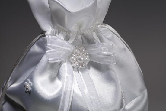 White Satin with Floral and Pearl Accents Wedding Money Bag Money Bags and