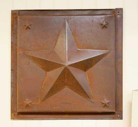 Primitive Rusty Tin Dimensional Star Ceiling Tile
