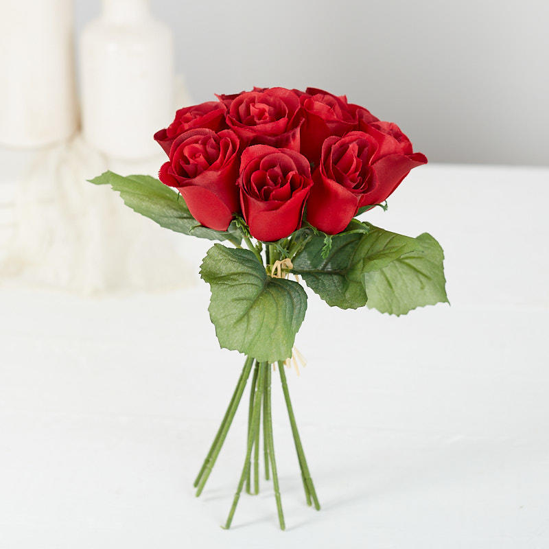 Red Artificial Rose Bundle - Bushes and Bouquets - Floral ...