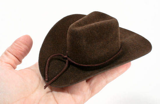 Small brown cowboy hat doll hats doll making supplies for Tiny top hats for crafts