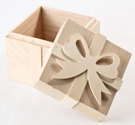 Small Unfinished Wood Gift Box