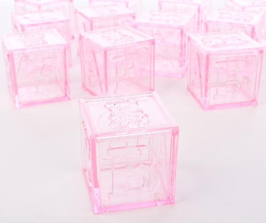 Translucent Pink Baby Block Fillable Favors - It's a Girl ...
