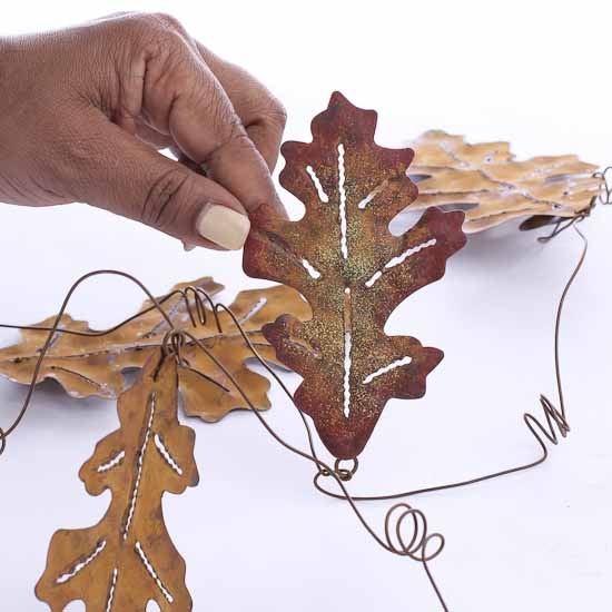 6ft Metal Fall Oak Leaf Garland Table Decor Fall And