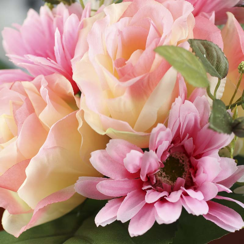 Pink And Peach Artificial Rose And Gerbera Daisy Bundle