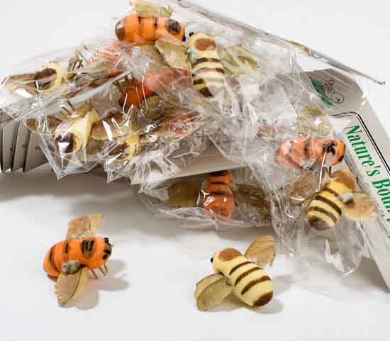 1 artificial bumble bees box of 24 birds for Artificial bees for decoration