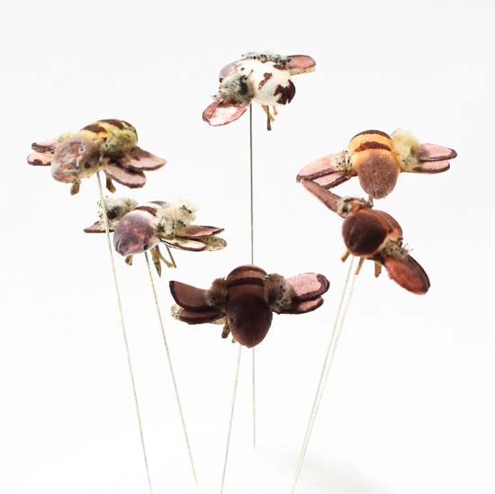 Artificial mushroom bees on wire box of 36 artificial for Artificial bees for decoration