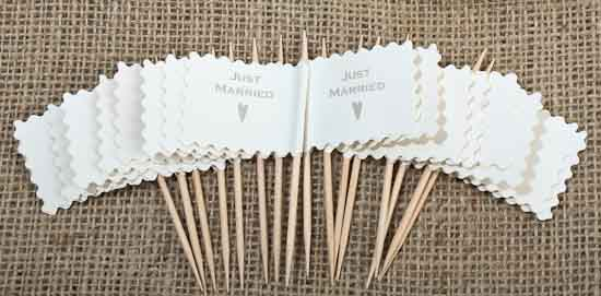 Quot Just Married Quot Wedding Favor Flag Toothpicks Package Of