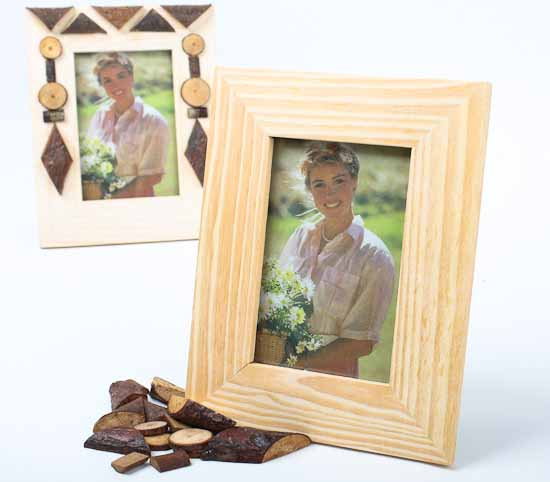 Unfinished wood with wood shapes photo frame kits set of 6 for Unfinished wood frames for crafts