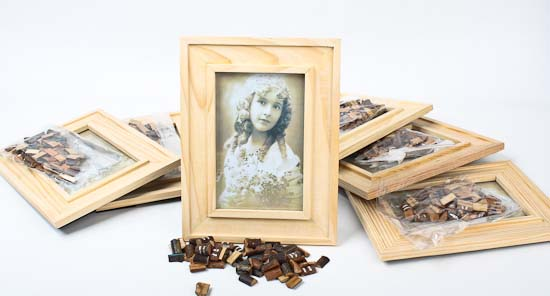 Unfinished wood photo frame kits set of 6 activity for Unfinished wood frames for crafts