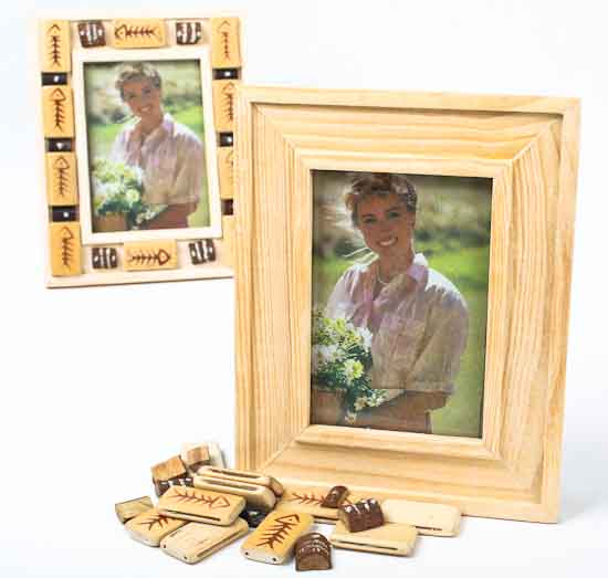 Unfinished wood with wood tiles photo frame kits set of 6 for Unfinished wood frames for crafts