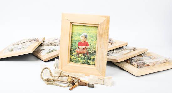 Unfinished natural wood photo frame kits set of 6 kids for Unfinished wood frames for crafts