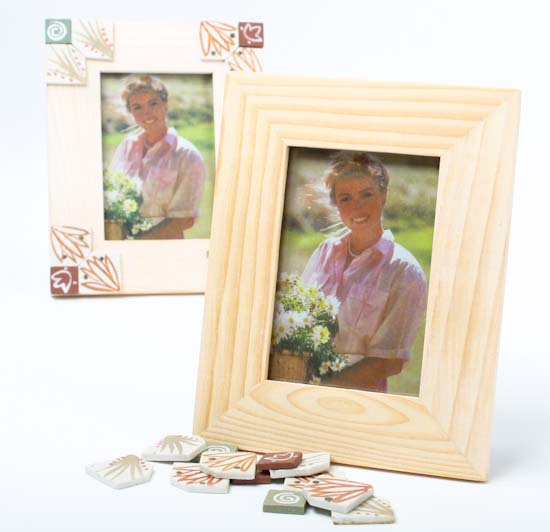 Unfinished wood with ceramic tiles photo frame kits set of for Unfinished wood frames for crafts