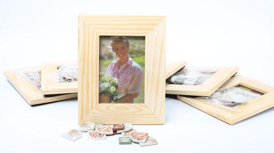 Unfinished Wood With Ceramic Tiles Photo Frame Kits Set Of