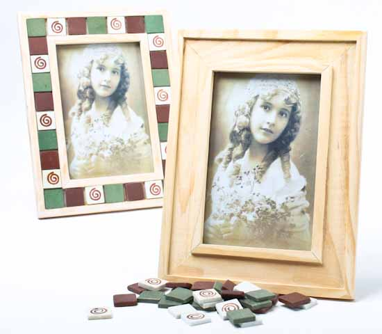 Unfinished wood with mini tiles photo frame kit picture for Unfinished wood frames for crafts