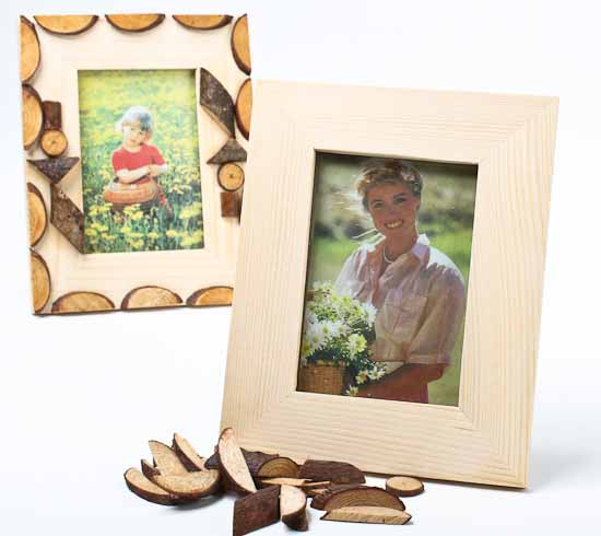 Unfinished wood with wood half circles photo frame kits for Unfinished wood frames for crafts