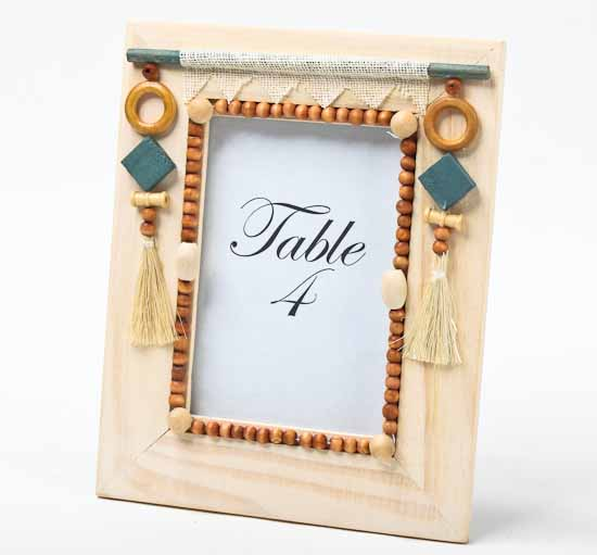Unfinished wood with tassels and beads photo frame kits for Unfinished wood frames for crafts