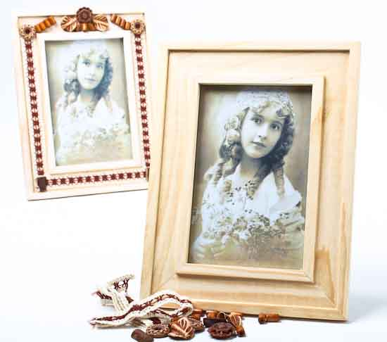 Unfinished Wood Decorative Photo Frame Kits Set Of 5