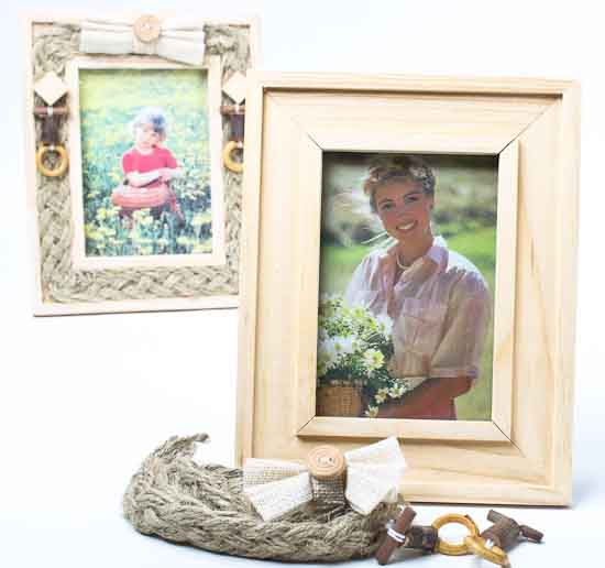 Unfinished wood with jute and beads photo frame kits set for Unfinished wood frames for crafts