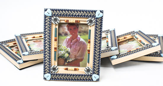 Decorative Wood With Buttons And Beads Picture Frame