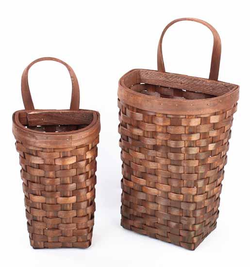 Set Of 2 Primitive Natural Woven Wall Baskets Baskets