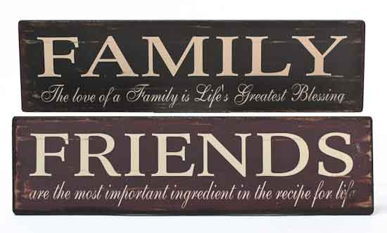 Pair Of 2 Primitive Friends And Family Signs Home Decor