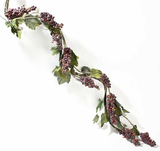 6 foot deluxe artificial grapevine garland with purple for Artificial grape vines decoration