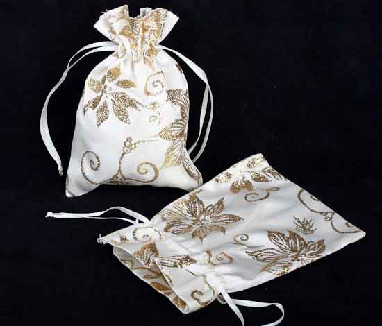 Wedding Gift Bags Card Factory : Set of 2 Mini Gold Sparkle Fabric Holiday Gift Card Bags - Christmas ...