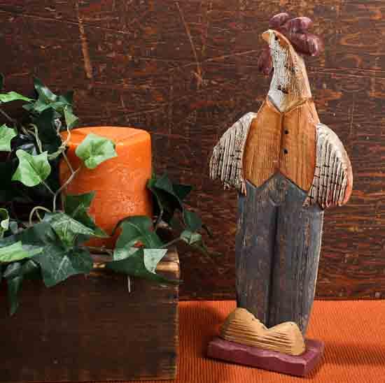 Primitive Wood Carved Rooster Basic Craft Supplies