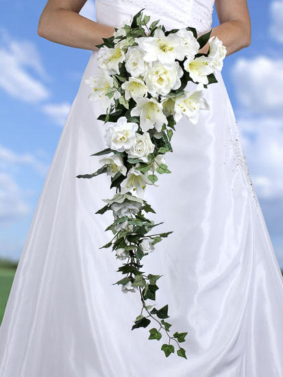 Cream Artificial Lily and Gardenia Cascading Bouquet - Bushes and ...