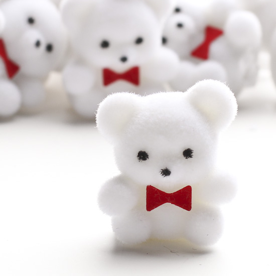 Miniature white flocked teddy bears miniatures view all