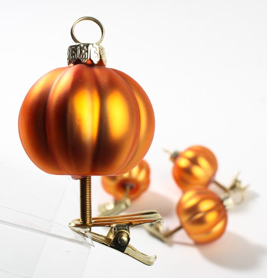 Glass Pumpkin Ornament Placecard Holders Thanksgiving