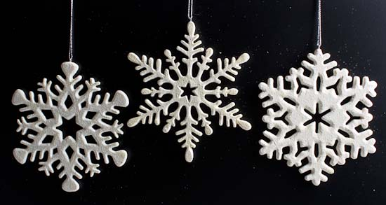 Glittery White Ceramic Snowflakes - Christmas Holiday Sale - Sales