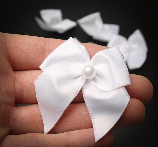 Pretied White Satin Bows - Ribbon and Trims - Craft Supplies