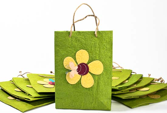 Green Handmade Paper Gift Bags Set Of 10 Gift Packaging Party