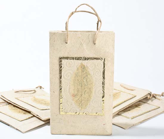 Ivory Handmade Paper Gift Bags Set Of 10 Gift Packaging Party