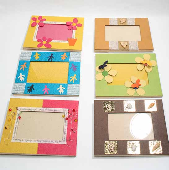 Handmade paper crafted picture frame picture frames for Picture frame decorating ideas for kids