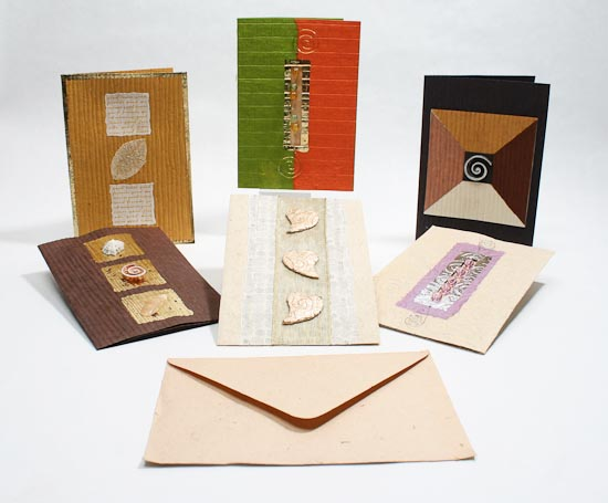 handmade paper crafted gift cards with envelopes set of 6